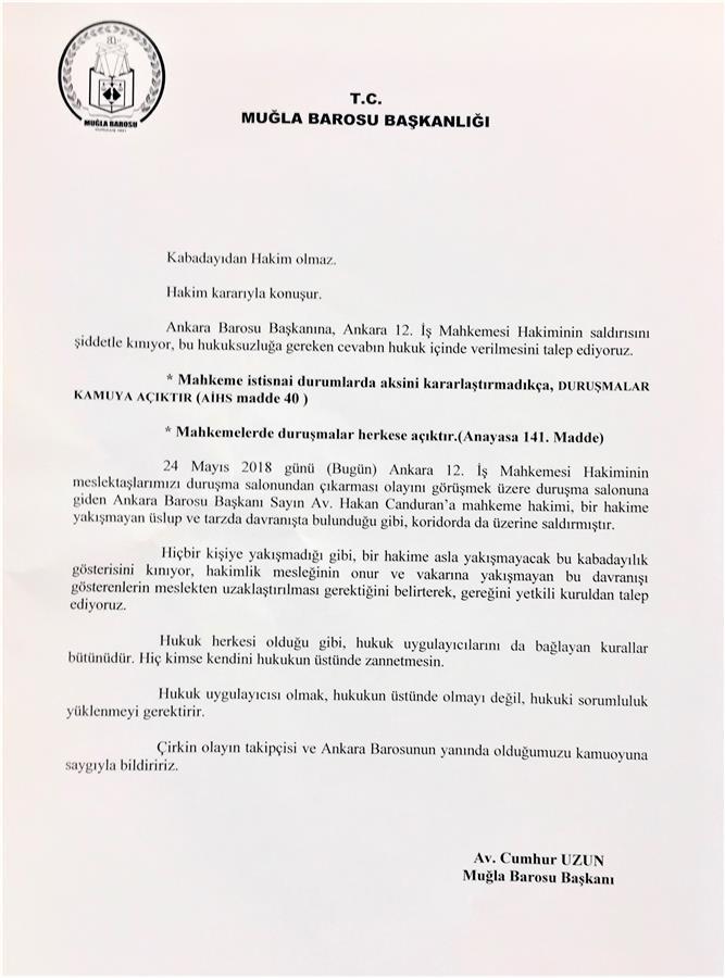 ANKARA BAROSU BAŞKANI AV. HAKAN CANDURN